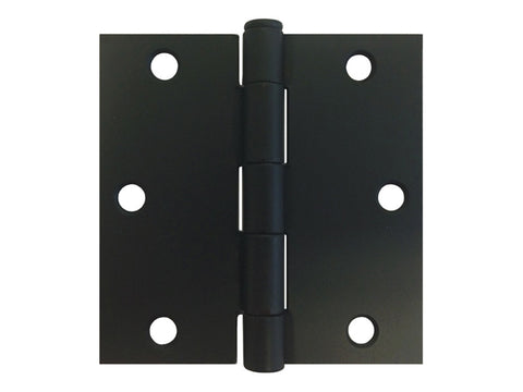 "Black 3 1/2"" Door Hinges Square Corner"