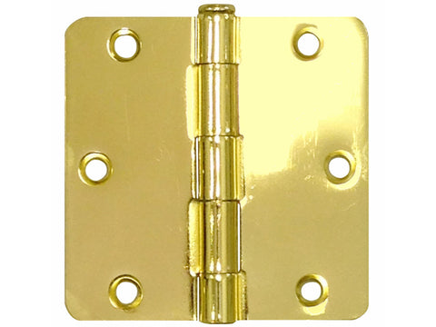 "Polished Brass 3 1/2"" Door Hinges 1/4"" Radius US3"