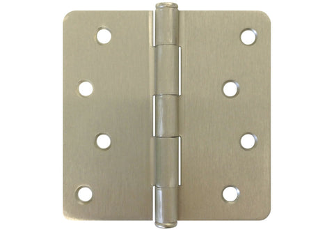 "Satin Nickel 4"" Door Hinges 1/4"" Radius US15"