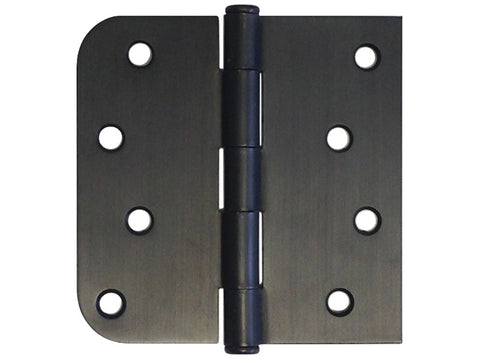 "Oil Rubbed Bronze 4"" Door Hinge Square Corner x 5/8"" Radius US10B"