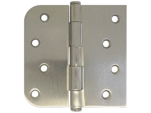 "Satin Nickel 4"" Door Hinge Square Corner x 5/8"" Radius US15"