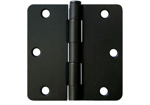 "Black 3 1/2"" Door Hinges 1/4"" Radius"