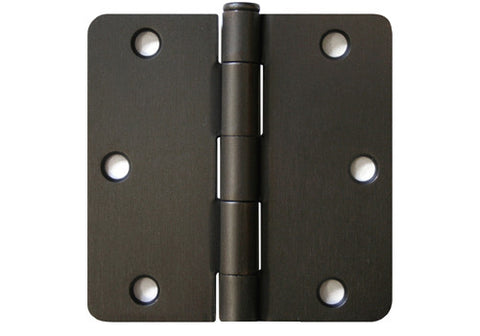"Oil Rubbed Bronze 3 1/2"" Door Hinges 1/4"" Radius US10B"