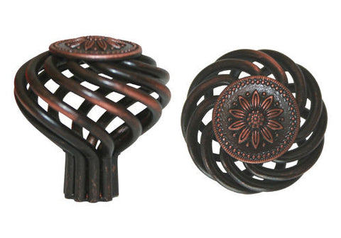 "Oil Rubbed Bronze Cabinet Drawer 1-3/8"" Sunflower Bird Cage Round Knob 1341 35MM"
