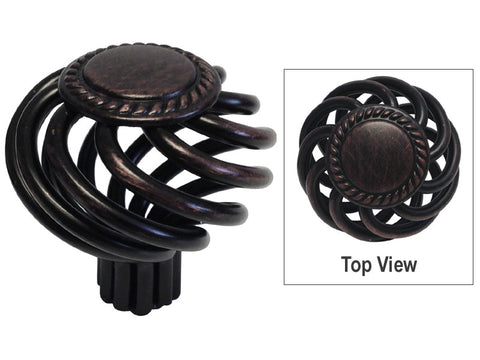 "Oil Rubbed Bronze Cabinet Drawer 1-3/8"" Sunflower Bird Cage Round Knob 1342 35MM"