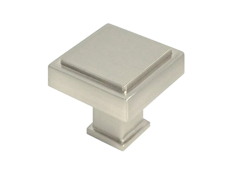 "Satin Nickel Cabinet Drawer 1-1/8"" Square Knob 1023 30MM"