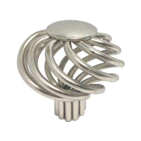 "Satin Nickel Cabinet Drawer 1-5/8"" Bird Cage Round Knob 1318 40MM"