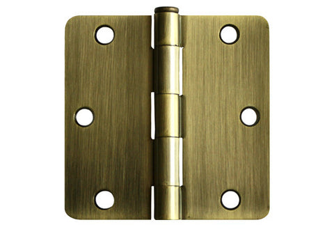 "Antique Brass 3 1/2"" Door Hinges 1/4"" Radius"