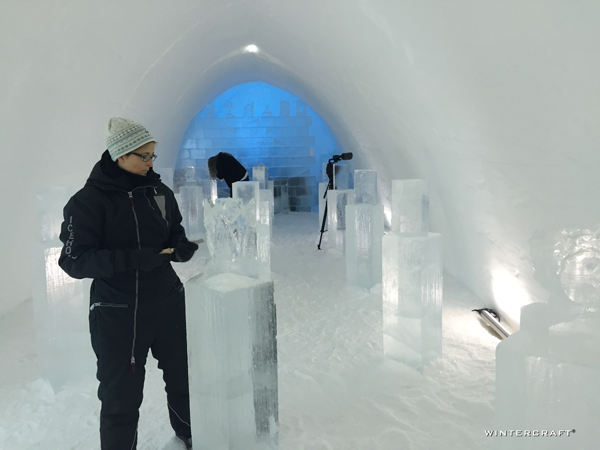The Ice Hotel also offers adventures large and small. We decided to try a basic lesson in ice carving. They supply a block of ice taken from the river, an ice carving chisel and a soft-headed hammer.