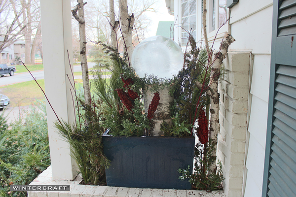 Finished Wintercraft Globe Ice Lantern Perch Front Entrance Planter