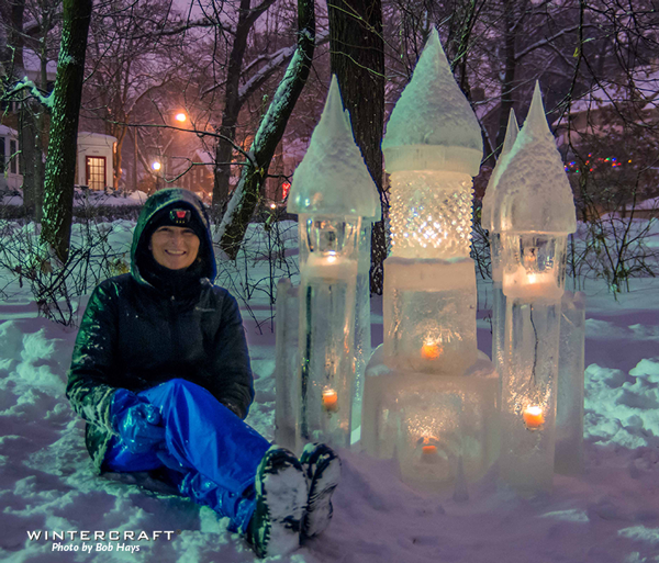 Jen with Ice Wrangler Ice Castle 2018 Middlemoon Creekwalk Wintercraft