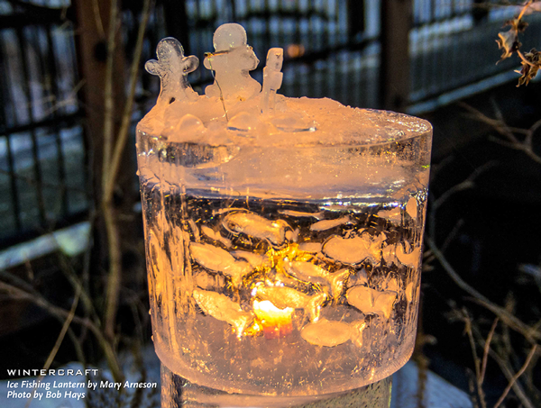 Ice Fishing Lantern by Mary Arneson for 2018 Middlemoon Creekwalk photo by Bob Hays