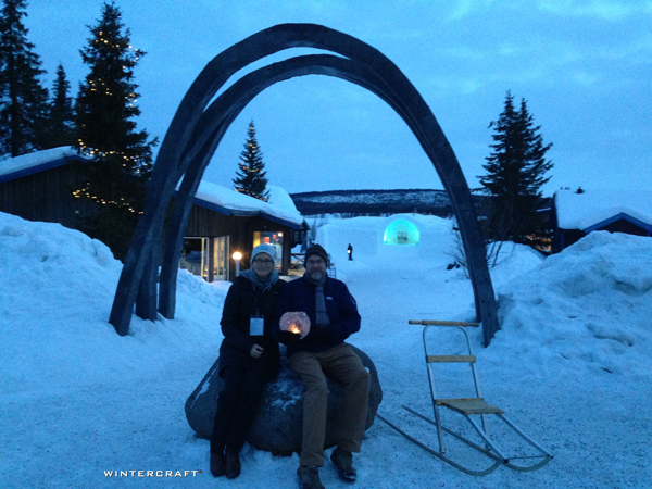 "The beautiful entrance to the Ice Hotel during the ""Blue Hour"""