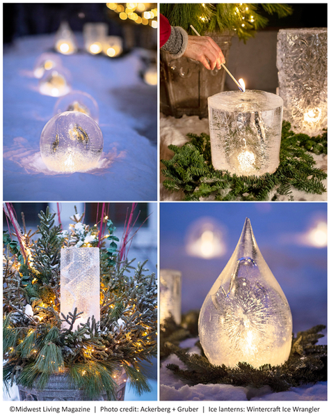 Four types of ice lanterns together ice by the Wintercraft Ice Wrangler