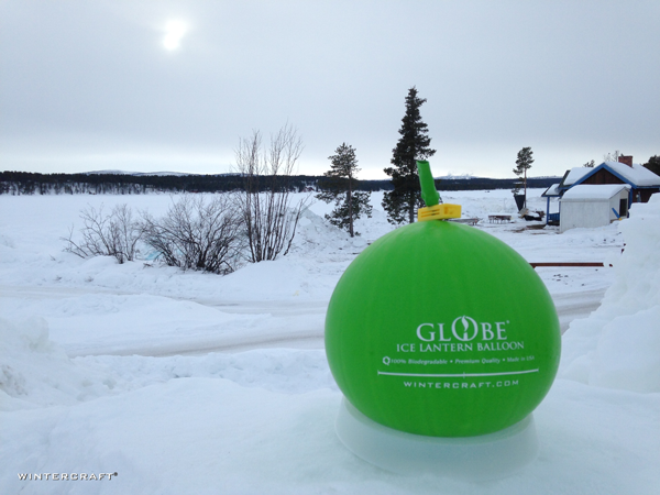 Of course the first thing we did after arriving at the Ice Hotel was to put out a Globe Ice Lantern to freeze.