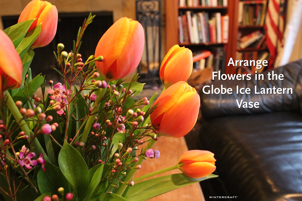Add Flowers to Spring Globe Ice Lantern Centerpiece