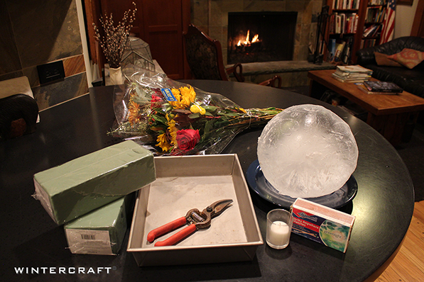 All you need to make a Globe Ice Lantern Centerpiece with Cake Pan Wintercraft