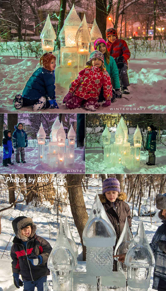 half of long photo of kids with IceWrangler's Ice Castle at 2018 Middlemoon Creekwalk Wintercraft