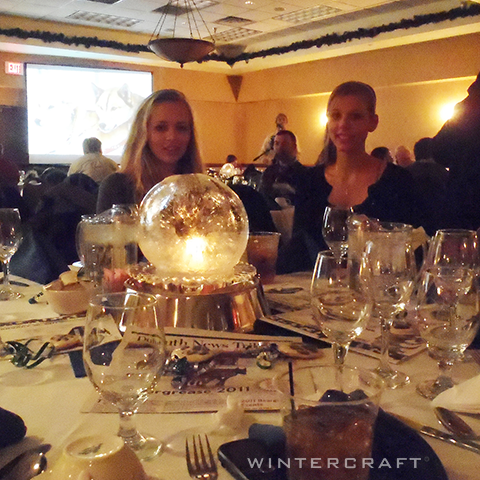 Wintercraft IceLantern- Globe ice lantern with candlelight making a beautiful wedding centerpiece