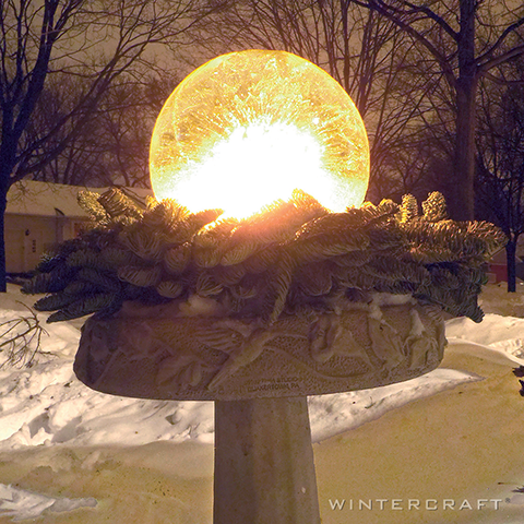 Wintercraft Globe Ice Lantern in Birdbath Winter Landscaping
