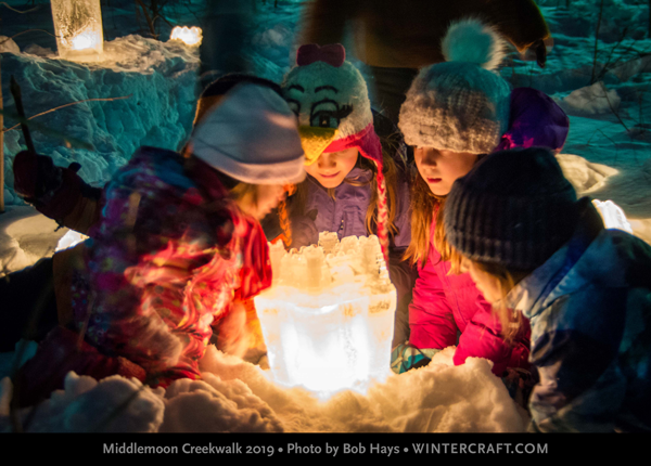 Bob Hays captures kids looking into a Bundt Ice Lantern Wintercraft Middlemoon Creekwalk 2019