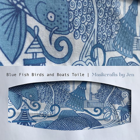 Blue Fish Birds and Boats Toile