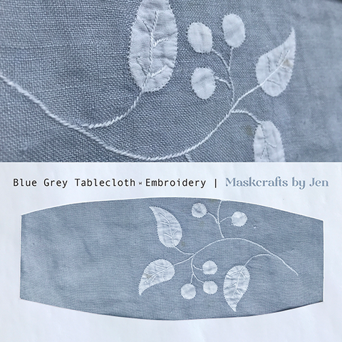 Blue Grey Tablecloth w Embroidery