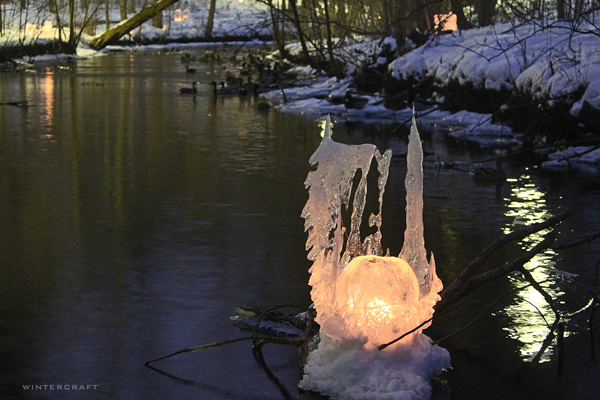 Chimera-shaped Ice Luminary Bubble Glass Middlemoon Creekwalk 2016 Wintercraft