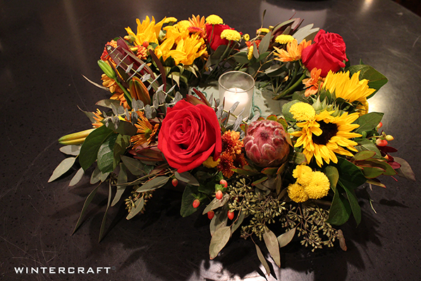 Finish putting Flowers in centerpiece Wintercraft