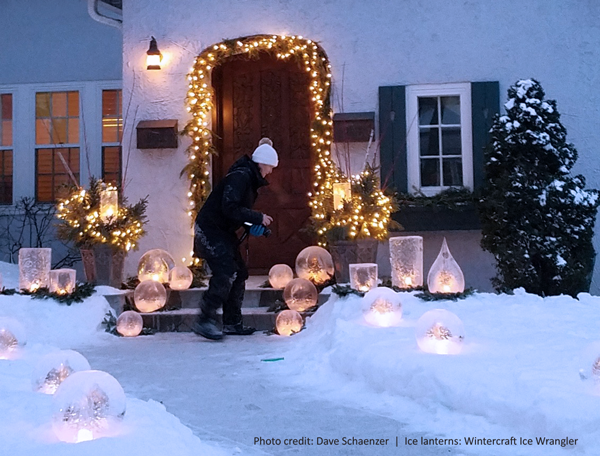 Dave Schaenzer's photo of the house front with ice luminarias arranged by the Ice Wrangler of Wintercraft