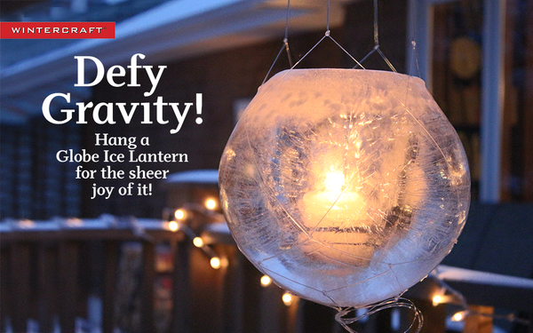 Hang a Globe Ice Lantern with macramed fish line!