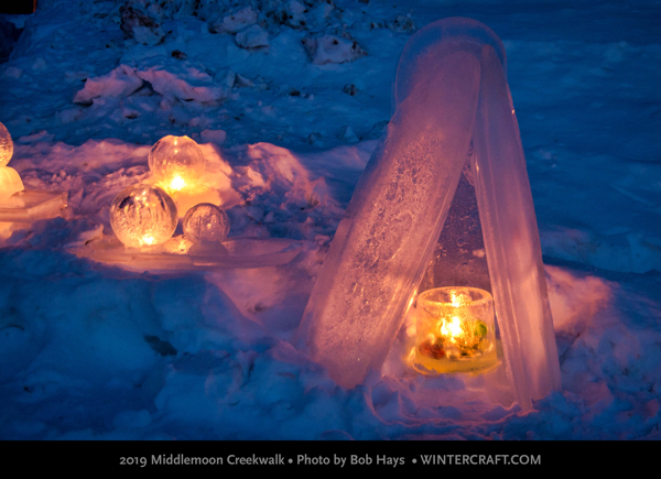 Mystery donated ice lanterns 2019 Middlemoon Creekwalk photo by Bob Hays