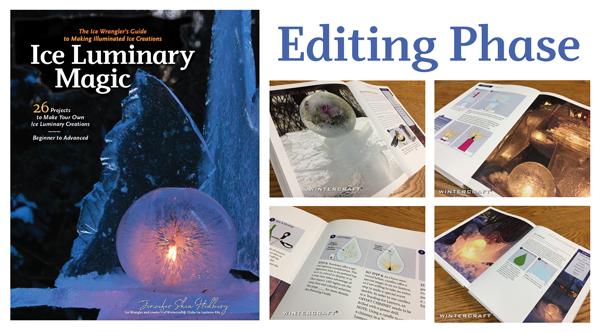 Editing phase of Ice Luminary Magic Ice Wrangler's book Wintercraft