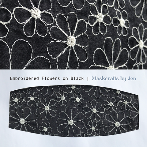 Embroidered Flowers on Black