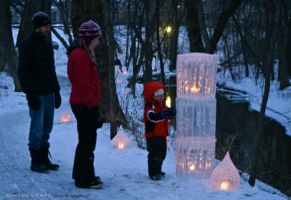 Finnish Ice Glass Towers by The Ice Wrangler at Middlemoon Creekwalk 2016 Wintercraft