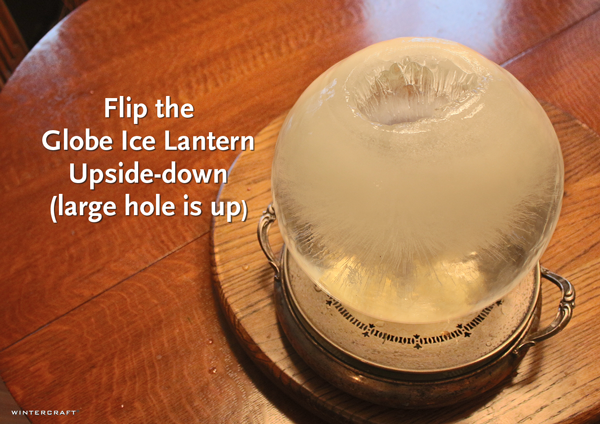 Flip it over Globe Ice Lantern Tulip Centerpiece Wintercraft Ice Wrangler