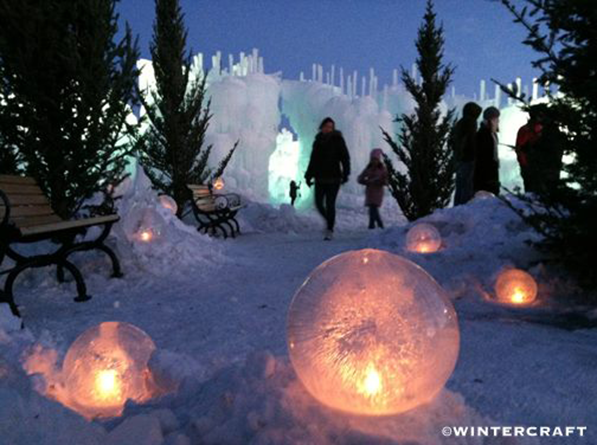 Candlelit Globe Ice Lantern Garden at the entrance of the Mall of America Ice Castle