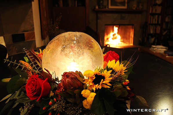 A Globe Ice Lantern Centerpiece adds magic to a home during the holidays or every day