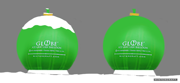 Wipe snow off a globe ice lantern