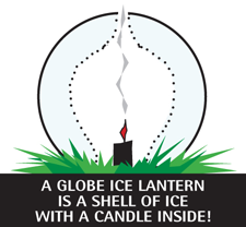 An ice lantern is a shell of ice with a candle inside