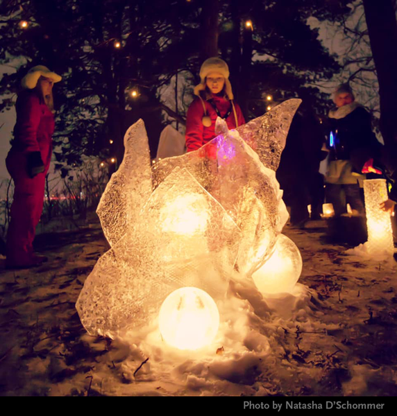 Ice Wrangler ice sculpture in 2019 Enchanted Forest luminary loppet photo by Natasha D'Schommer