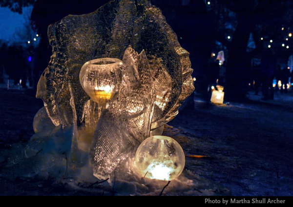 Martha Archer photo of Ice Wrangler ice sculpture 2019 Enchanted Forest luminary loppet