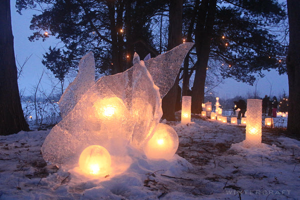beautiful candlelit scene at the 2019 Enchanted Forest Luminary Loppet by the Ice Wrangler