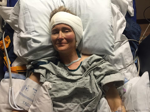Jen after brain surgery
