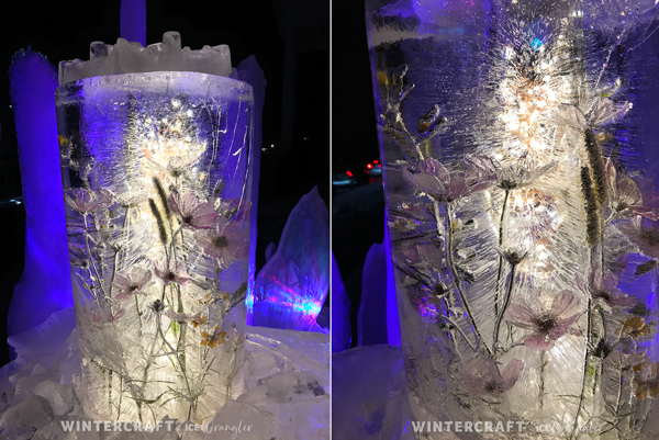 The top Floral Bucket Ice Lantern filled with Cosmos Wintercraft Ice Wrangler