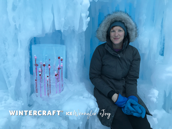 Joy and rising beads ice lantern at the ice castle, mn