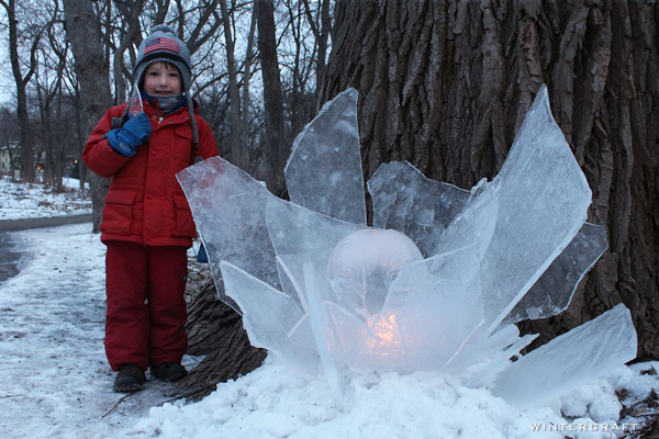 Rosy cheeked children playing with ice in Minneapolis, Minnesota, USA