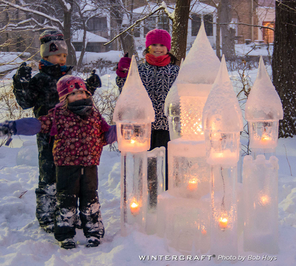 Kids enjoying the Ice Castle built by Jennifer Shea Hedberg Wintercraft Ice Wrangler