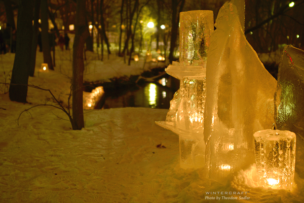 Large Ice Sculpture by Wintercraft Ice Wrangler photo by Theodore Sadler