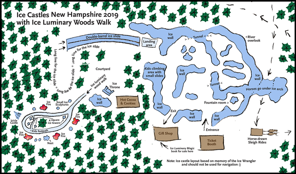 Map of Ice Castles New Hampshire and the Ice Luminary Woods Walk